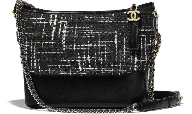 Chanel/香奈儿 香奈儿GABRIELLE流浪包, 斜纹软呢、小牛皮、银色与金色金属., 黑、海军蓝、棕与乳白.  A93824 Y83781 K0991 21 × 28 × 10 cm