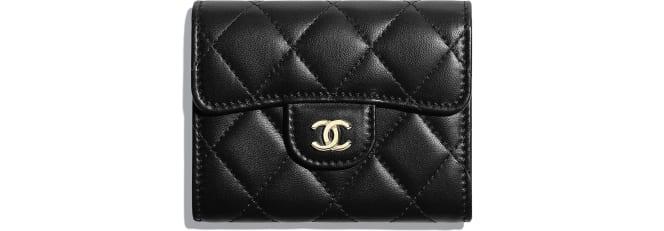 Chanel/香奈兒 經典零錢包, 羊皮革與金色金屬., 黑.  A31504 Y04059 C3906 8.5 × 12 × 2.5 cm