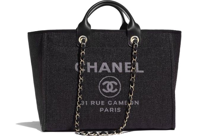 Chanel/香奈儿 购物包, 棉、尼龙、小牛皮与金色金属., 黑.  A66941 Y84117 94305 30 × 39 × 22 cm
